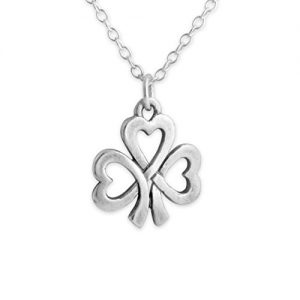 Azaggi Sterling Silver Handcrafted Heart Shamrock Lucky Necklace