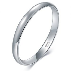 BORUO 925 Sterling Silver Ring High Polish Plain Dome Tarnish Resistant Comfort Fit Wedding Band 2mm Ring