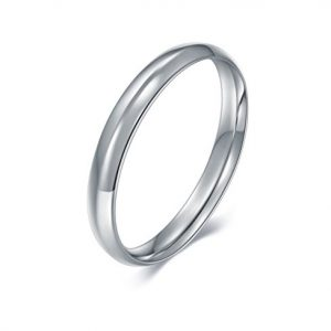 BORUO 925 Sterling Silver Ring, High Polish Plain Dome Tarnish Resistant Comfort Fit Wedding Band 3mm Ring