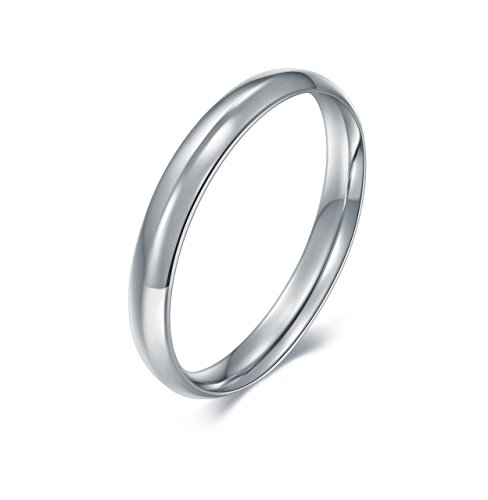 V123791pp Platinum Plain 3mm Wide Comfort Fit Wedding Band: BORUO 925 Sterling Silver Ring, High Polish Plain Dome