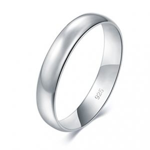 BORUO 925 Sterling Silver Ring High Polish Plain Dome Tarnish Resistant Comfort Fit Wedding Band 4mm Ring Size 4-12