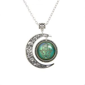 Beautiful Season DIY Moon jewelry Chamsa Hamsa Hand of God necklace Evil Eye pendant Hamsa jewelry gifts