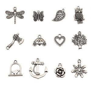 Bingcute 100Pcs Wholesale Bulk Lots Tibetan Silver Plated Mixed Pendants Charms for Jewelry Making Bracelets