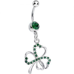 Body Candy Dark Green Shamrock Dangle Belly Ring