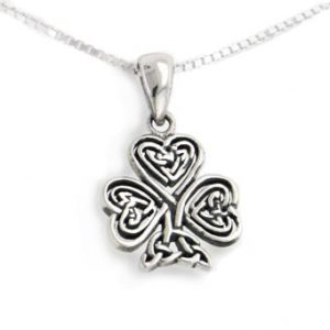 Celtic Knot Irish Shamrock 3-Leaf Clover Sterling Silver Pendant with 18″ Necklace