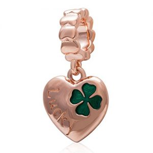 Choruslove Lucky Series Valentined Gift 925 Sterling Silver Clover Charm for European Brand Bracelet Compatible