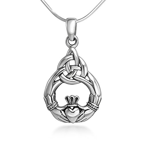 Chuvora Sterling Silver 20 Mm Celtic Knot Claddagh