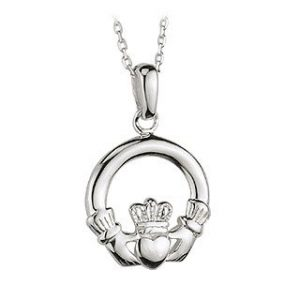 Claddagh Necklace Sterling Silver Heavy Made in Ireland