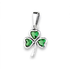 Clover Shamrock Pendant Simulated Emerald .925 Sterling Silver Good Luck Charm