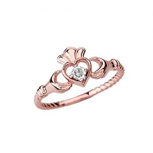 Dainty 10k Rose Gold Open Heart Solitaire Diamond Rope Claddagh Promise Ring