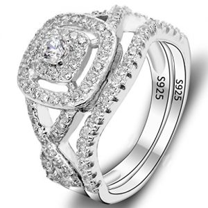 EVER FAITH 925 Sterling Silver Elegant Full Pave CZ Wedding Engagement Ring Set Clear