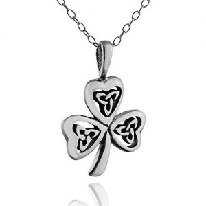 FashionJunkie4Life Sterling Silver Celtic Trinity Knot Shamrock Clover Necklace, 18″ Chain