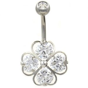 Four Heart Gemmed Lucky Shamrock Belly Button Navel Ring Non-Dangle