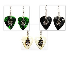 Four Leaf Clover Shamrock Charm on Guitar Pick Earrings