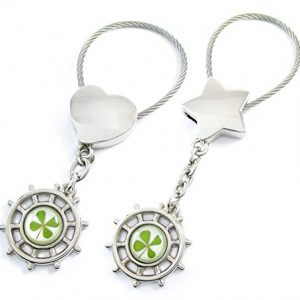 Genuine Four-leaf Lucky Clover Crystal Amber Engravable Key Chain, Lucky Directions, Guide Your Lucky Life Journey!