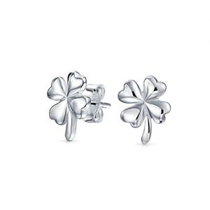 Good Luck Four Leaf Clover Stud earrings 925 Sterling Silver 11mm