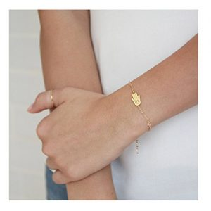 Hamsa Hand Gold Choker Necklace Bracelet Dainty 14K Gold Plated Evil Eye Hamsa Charm Layering Brush Finish Pendant Jewelry For Women With Mini Cubic Zirconia