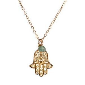 Hamsa Necklace – Hand Filigree Charm Pendant Necklace with Light Blue Stone