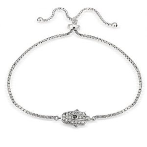 Hoops & Loops Sterling Silver Cubic Zirconia Hamsa Hand Adjustable Bracelet