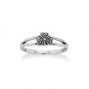 Irish Shamrock Celtic Knot 3-Leaf Clover Sterling Silver Narrow 5mm Pinky Ring(Sizes 3,4,5,6,7,8,9,10)