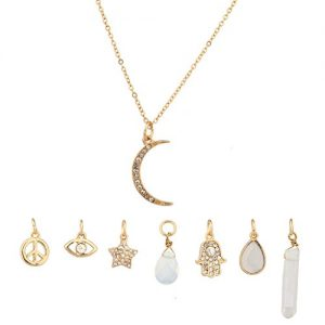 Lux Accessories Crescent Moon Celestial Crystal Hamsa Star Evil Eye Peave Amulet Interchangable Necklace Set