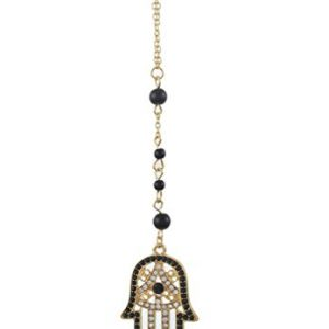 MJartoria Black and White Rhinestone Pave Hamsa Hand Pendant Beads Deco Y Chain Necklace Gold Color