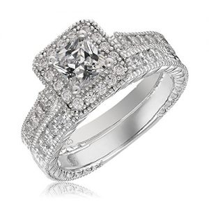 Mars wings Sterling Silver Platinum-Plated Elegant Cut CZ Diamond Engagement Wedding Ring Set 2pcs(New).