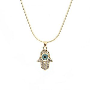 Meiligo Fashion Womens Hip-hop Blue Evil Eye Necklace Jewelry Rhinestone Protective Hand of Fatima Palm Pendant Necklace