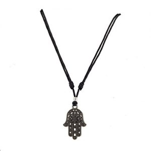Metal Hamsa Pendant on Adjustable Cord Necklace