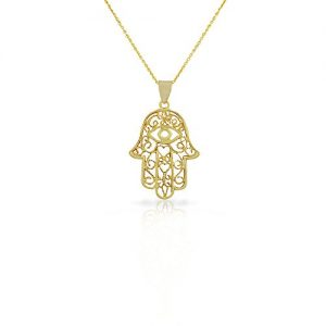 My Daily Styles 925 Sterling Silver Large Filigree Womens Evil Eye Hamsa Pendant Necklace