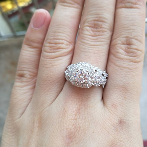 Newshe Wedding Engagement Ring Set For Women 925 Sterling Silver Pear Cz Sz 5-10