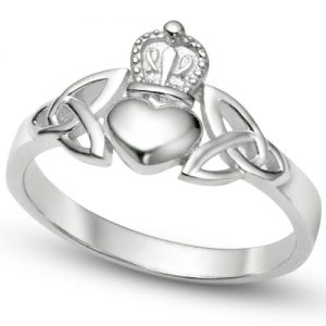Nickel Free Sterling Silver Irish Claddagh Friendship and Love Band Celtic Ring w/ Trinity Symbols