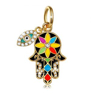 "NinaQueen ""Hamsa Hand and Evil Eye"" 925 Sterling Silver Multicolor Enamel Lucky Dangle Charms, Pendant for Choker Necklace"