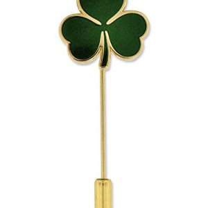 PinMart Gold St. Patrick's Day Shamrock Clover Lapel Stick Pin