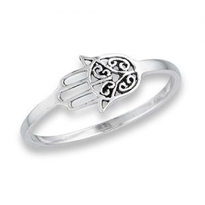 Prime Jewelry Collection Sterling Silver Women's Vintage Filigree Hand of God Hamsa Thumb Ring (Sizes 4-8)