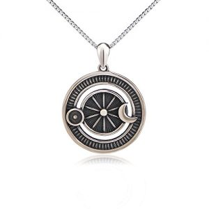 SILVER MOUNTAIN Sterling Silver Jewelry Oxidized Vintage Sun and Moon Pendant Necklace, 18 Inches Box Chain
