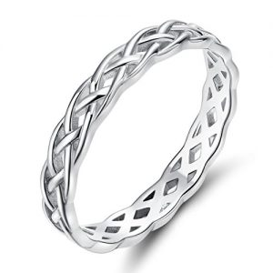 SOMEN TUNGSTEN 925 Sterling Silver Ring 4mm Eternity Knot Wedding Band for Women Size 4-11