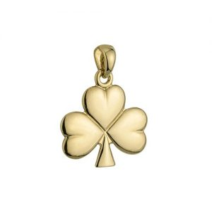 Shamrock Pendant 14K Gold Irish Made No Chain