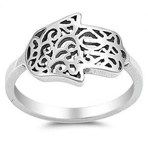 Sideways Hand of God Filigree Hamsa Ring .925 Sterling Silver Band Sizes 5-10
