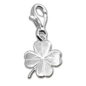 SilberDream Charm shamrock frosted 925 Sterling Silver Pendant Lobster Clasp FC505