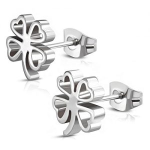 Stainless Steel Four Leaf Clover Shamrock Love Heart Cut-Out Stud Post Earrings
