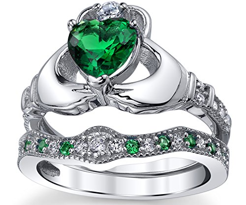 d8504e1a0c74f Sterling Silver 925 Heart Shape Claddagh Engagement Ring Wedding Bridal  Sets with Green Simulated Emerald Cubic Zirconia