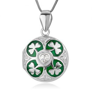 Sterling Silver Green Lucky Shamrock Leaves CZ Heart Trinity Celtic Knot Locket Necklace 18″