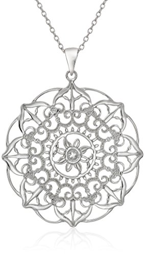 Sterling Silver Large Filigree Flower Pendant Necklace, 18″
