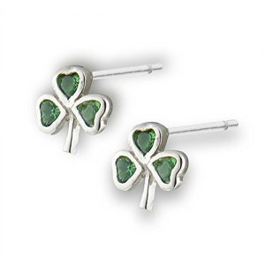 Three Leaf Clover Tiny Shamrock Stud High Polish Simulated Emerald .925 Sterling Silver Stud Earrings