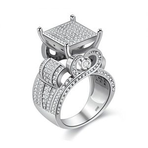 Uloveido Womens 0.4″ Wide Square Cluster Engagement Love Heart Architecture Ring Platinum Plated, Bridal Fashion Jewelry Stores (size 6 7 8 9 10) RA0221