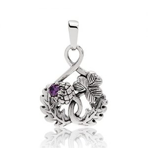 WithLoveSilver 925 Sterling Silver Scottish Thistle Shamrock Simulated Purple Cubic Zirconia Pendant