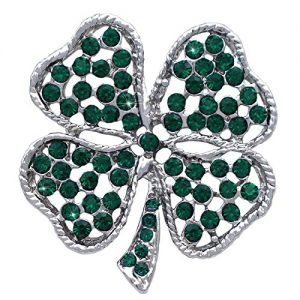 cocojewelry St. Patrick's Day Gift Heart Shape Leaf Clover Irish Shamrock Brooch Pin