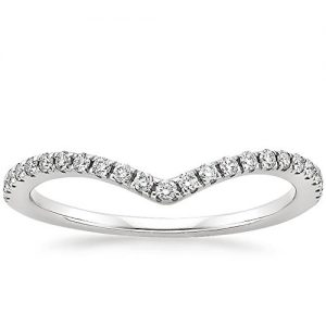 espere Womens Sterling Silver Eternity Band V Chevron Ring 18K Plating Weddings Bands 1.8mm Width