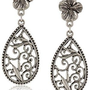 1928 Jewelry Silver-Tone Floral Filigree Teardrop Earrings
